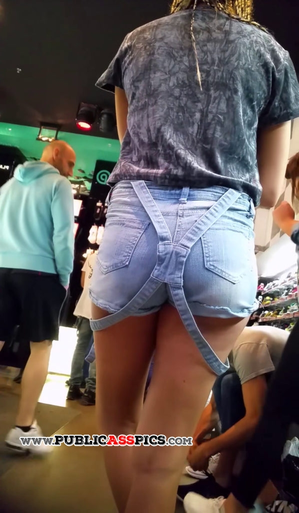 Straps falling down hot young ass in shorts
